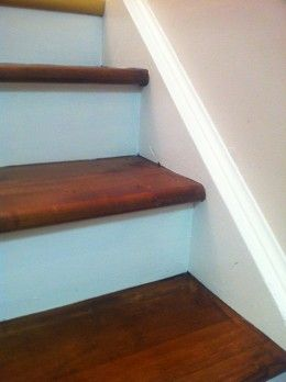 Redoing staircase like this. Carpet already stripped, staples pulled and broken tread repaired. Next - fill and sand, stain. Then onto painting the risers and strings.