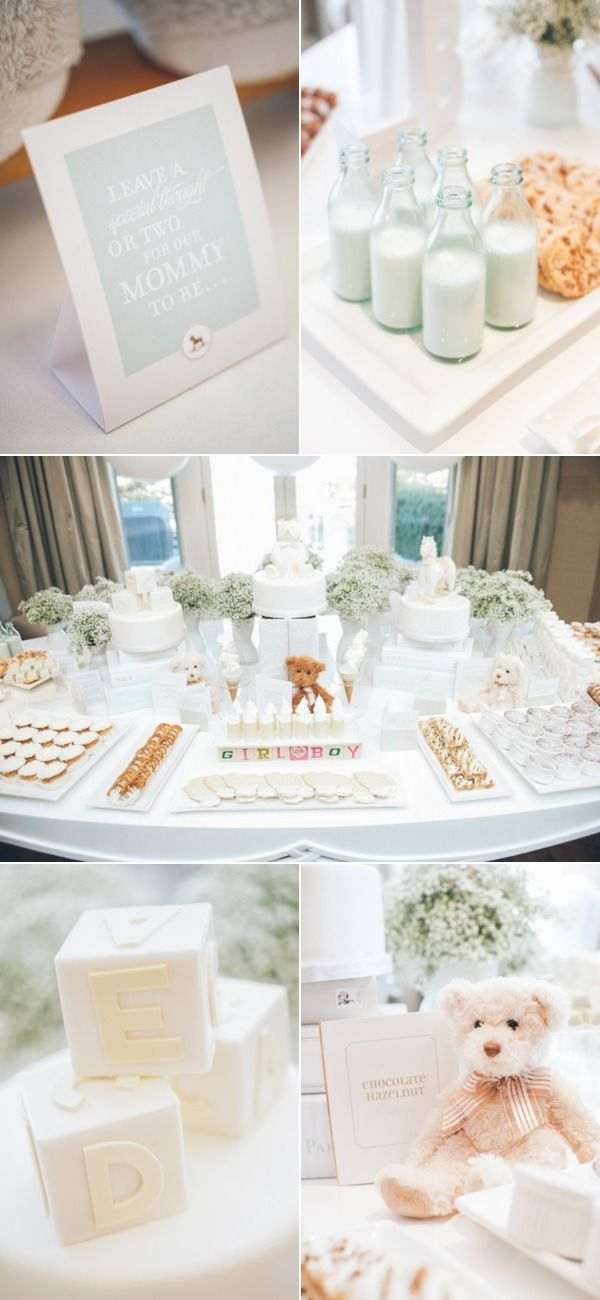 This is THE perfect baby shower plan for couples that don't know the sex of the baby or unwilling to share it. Pastels on an entire new level!..the bright white is so clean, fresh and inviting! White on White on White!