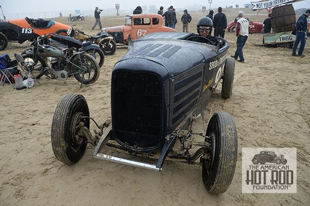 Our pal Michael Brennan from Pasadena, California brought his restored Sandy Belond pre-war lakes job to Pismo Beach for the First Race of Gentlemen presumably to get a free wash job courtesy of the rain. Looks like Mother Nature didn't do a good job and wasn't tipped. ©AHRF/Jim Miller Collection (JMC_6648) // #TROG #TROGWest #AmericanHotRodFoundation #TheRaceOfGentlemen #TROGWest2016 #hotroddingaliveandwell