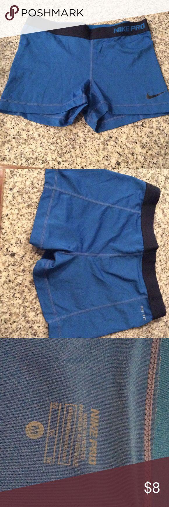 Nike Pro spandex shorts size Medium Nike Pro spandex shorts size Medium. Royal blue. Too small. Never worn. No wear and tear no stains. Nike Shorts
