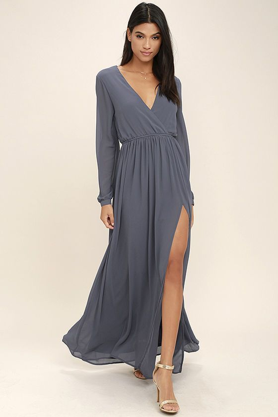 Take a moment to marvel at the sheer beauty of the Wondrous Water Lilies Slate Grey Maxi Dress! Lightweight chiffon shapes a surplice bodice framed by sheer long sleeves. A billowing maxi skirt with front slit falls below the elasticized waist for a stunning finish.