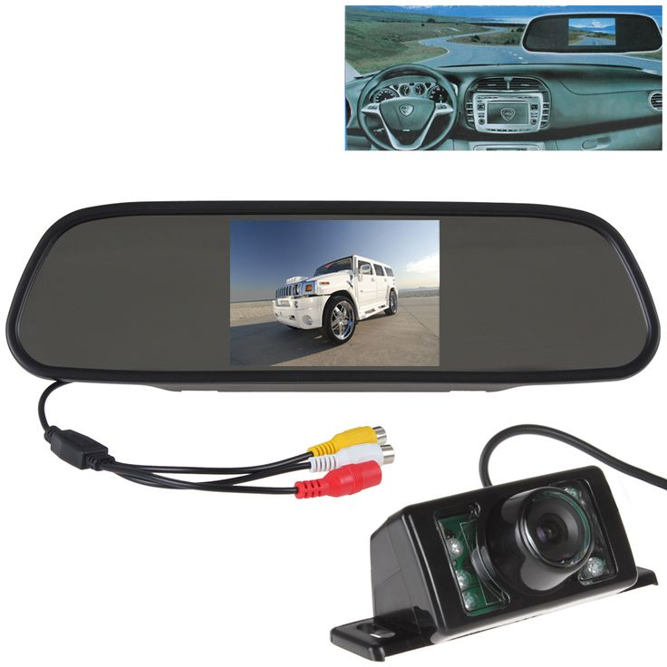 5'' Color Tft Lcd 16:9 Car Rear View Mirror Monitor with 7 IR Lights Waterproof Car Reverse Camera for Car Parking PAL NTSC