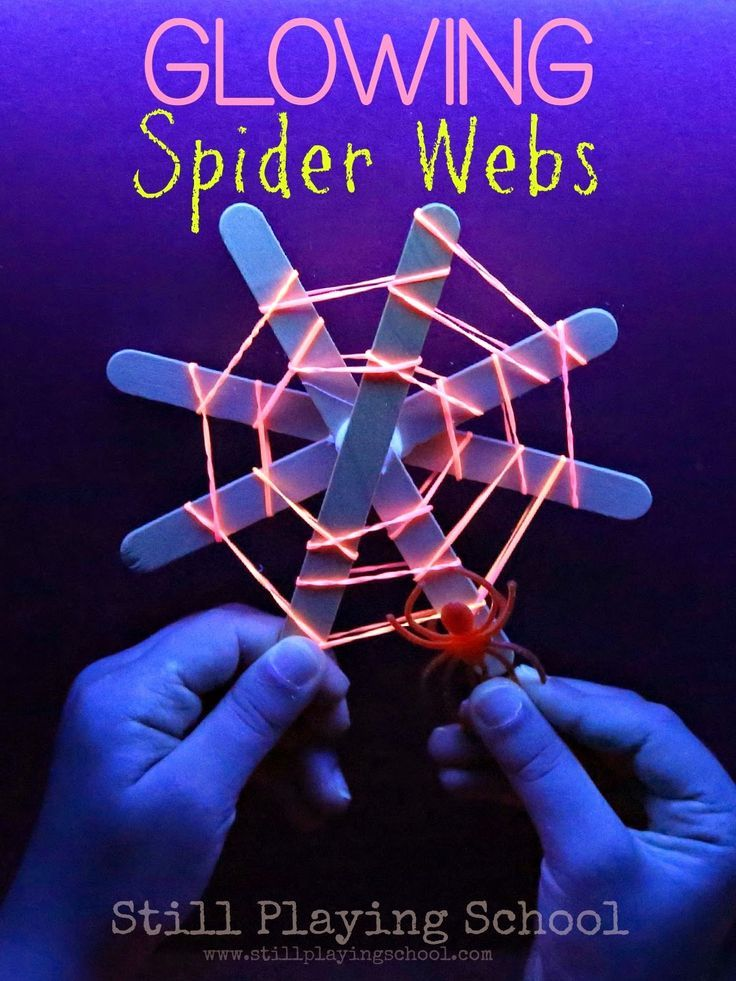 Glow in the Dark Spider Webs Craft and Fine Motor Activity for Kids from Still Playing School