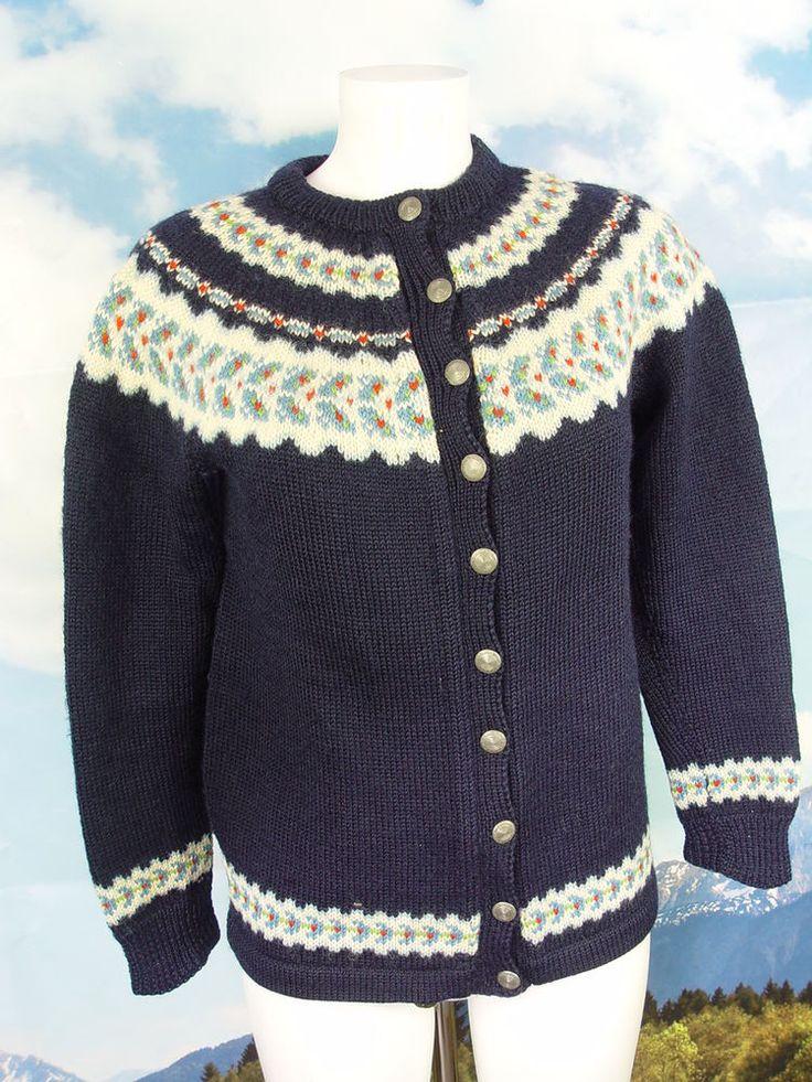 FOLDAL wundervolle original Norweger-Strickjacke lang und warm Jacke Gr.36/38