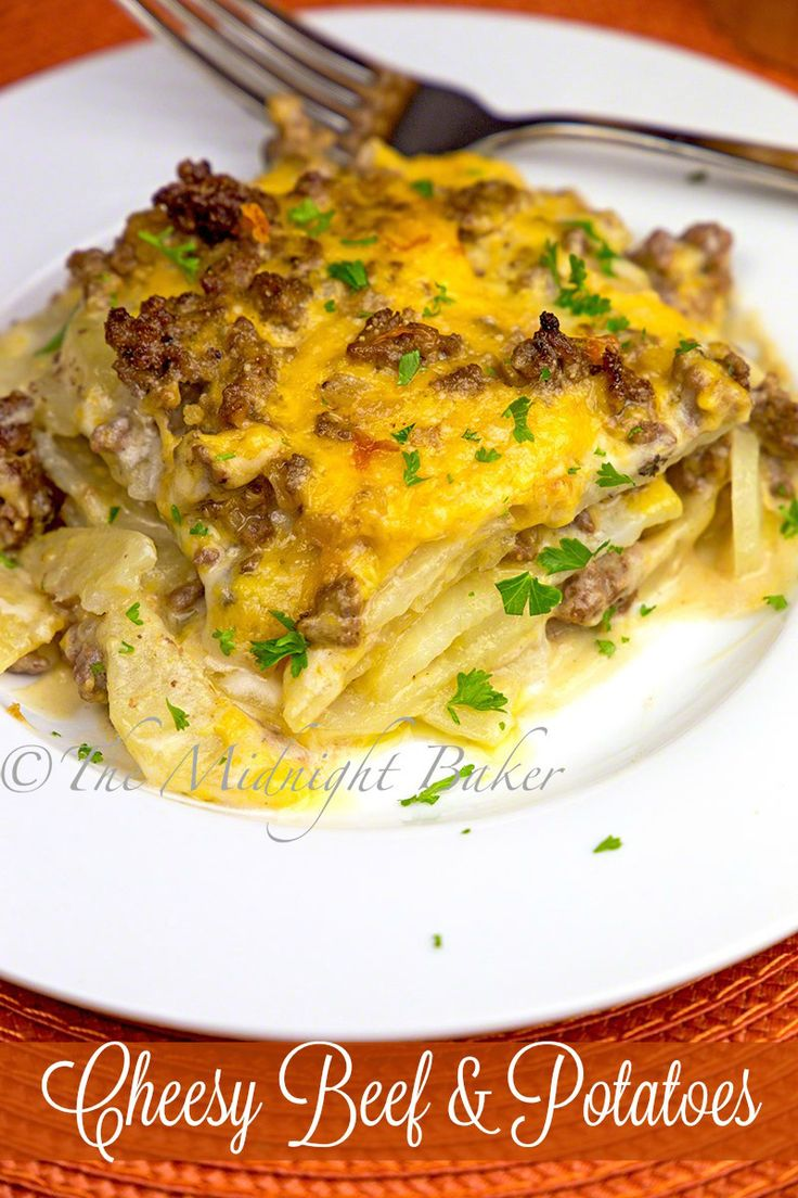 A wonderful casserole with layers of beef, potato and cheese