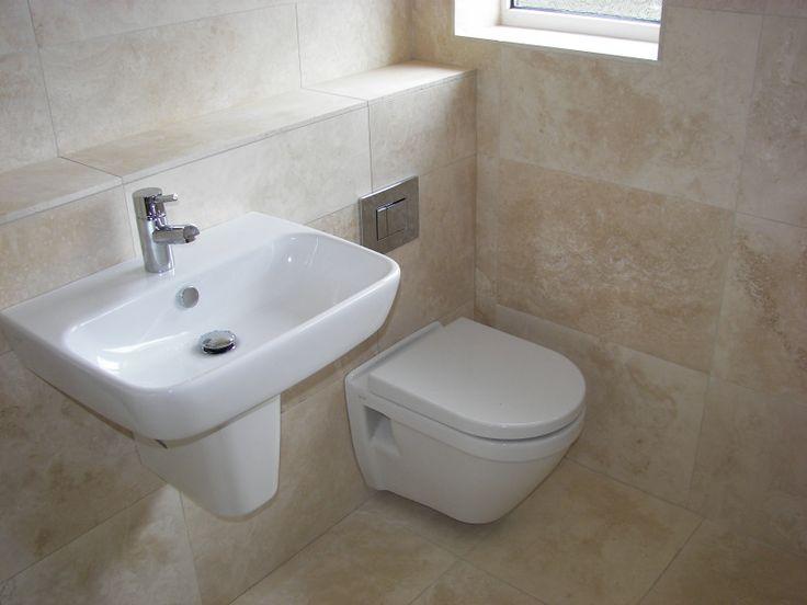 Beautifully Cream Bathroom Tiles added Sophisticated Look Around: Inspiring Cream Bathroom Tiles Porcelain Sink Modern Toilet ~ emsorter.com Bathroom Designs Inspiration