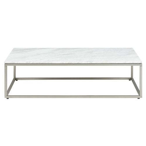 OneWorld Collection Volakas White Marble Top & Stainless Steel Bran Coffee Table