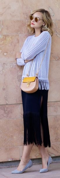Baby Blue And Black Fringed Outfit by Late Afternoon