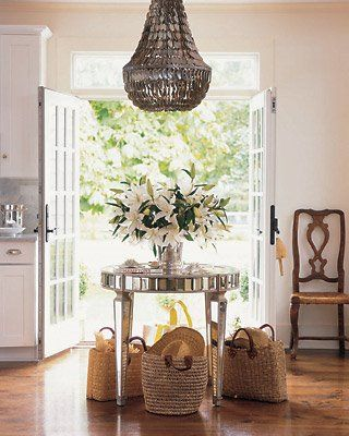 What a gorgeous entry!: Interior Design, Chandelier, Idea, Style, Round Table, Mirrored Table, Kitchen, Entryway