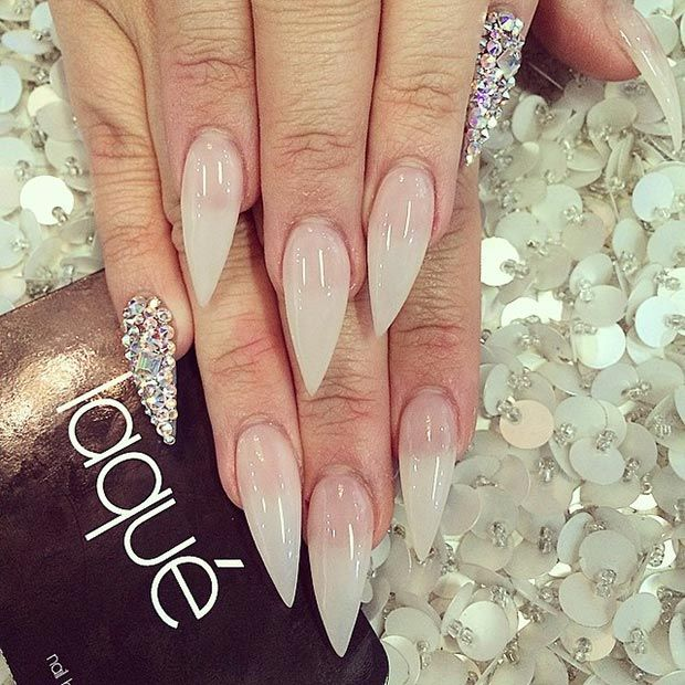 Nude + Rhinestone Pinkie Accent Nail Stiletto Nail Design