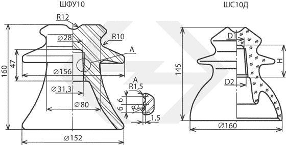 Isolatori lineari a perno di porcellana e vetro