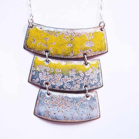 Modern geometric enamel necklace yellow and gray by OxArtJewelry, $115.00