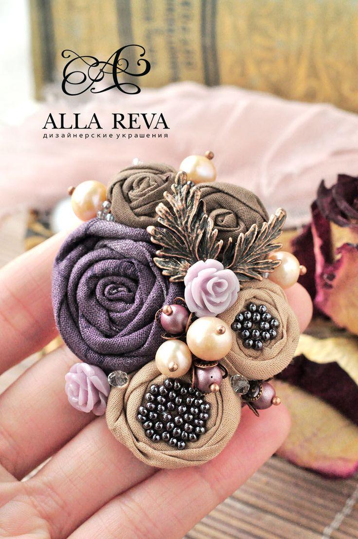 """Купить Брошь """"Букет фиалок"""" - комбинированный, брошь, брошь цветок, цветы из ткани, текстиль"""