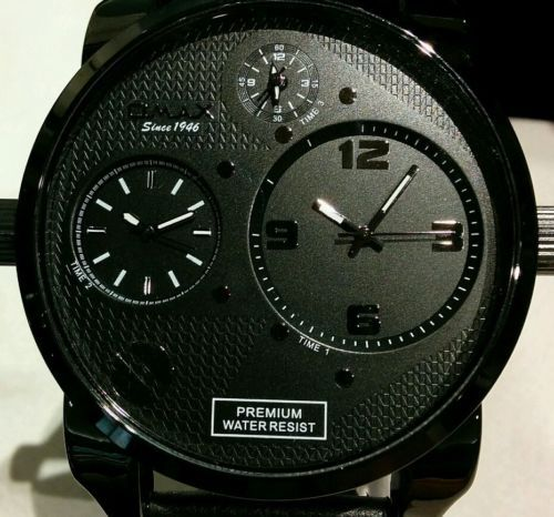 1000 images about oversized watches for men tag fashion gun metal big face men s watch omax brand 3 time zones