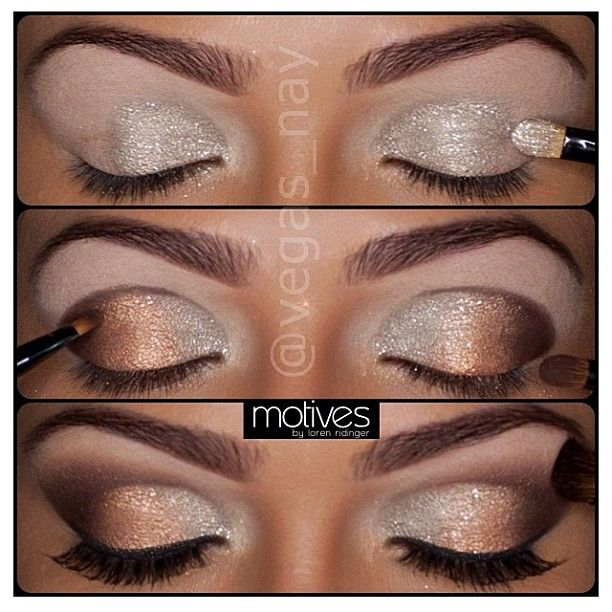 Gold sparkles smokey eye makeup <3