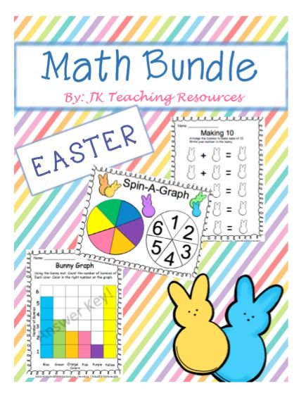 Easter bundle, number operations, numbers to 10, data management, math centers, math games.