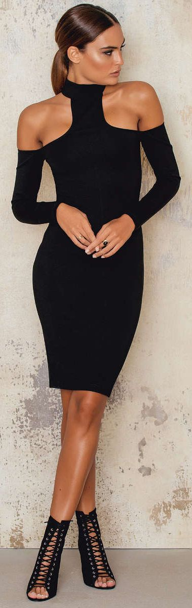 Cold Shoulder Midi-Dress