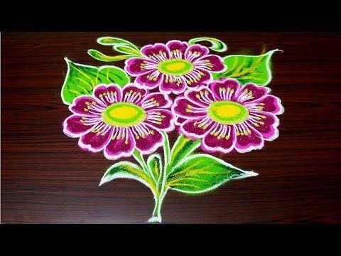 Simple Flower Rangoli Designs For Margazhi Easy Free Hand Kolam Designs Muggulu Designs Simple Flower Rangoli Free Hand Rangoli Design Free Hand Rangoli