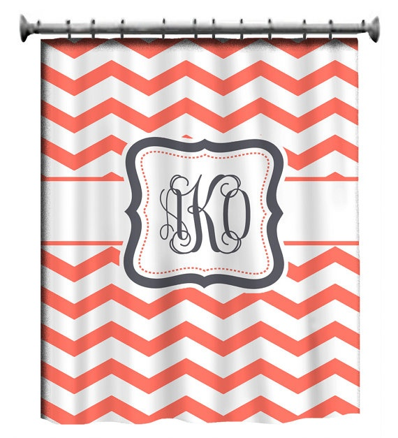 Personalized Shower Curtain  Coral & White Chevron = IN LOVE!