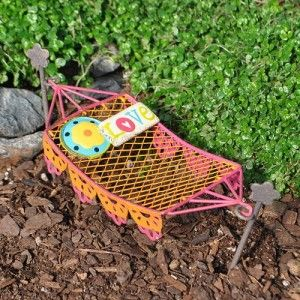Miniature Fairy Garden Lacy Hammock I need one of these. Size: 5.25″ Long x 2″ Wide with 4″ High Hooks.