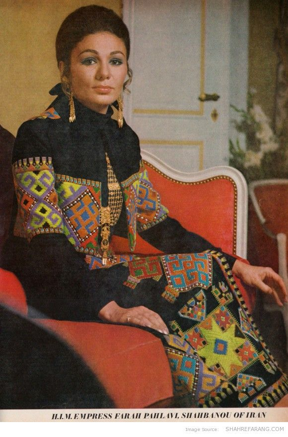 """This issue of Vogue also includes a picture of Queen Farah Diba in a dress inspired by Baluch tradition of """"Souzandoozi"""""""