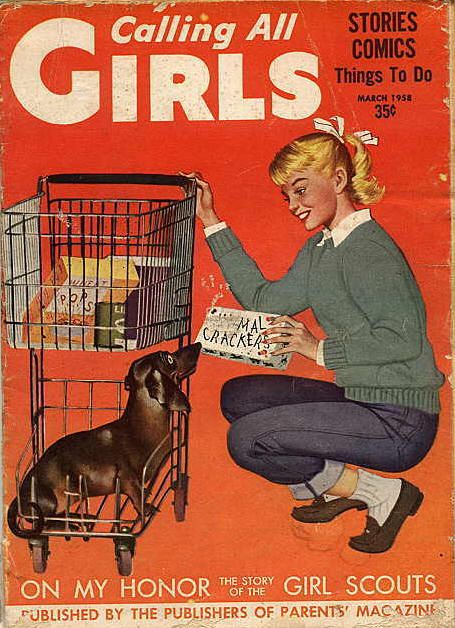 Calling All Girls magazine was a popular 'read' for pre-teen gals in the 50s and 60s - it later came under a new name YM (Young Miss) magazine.