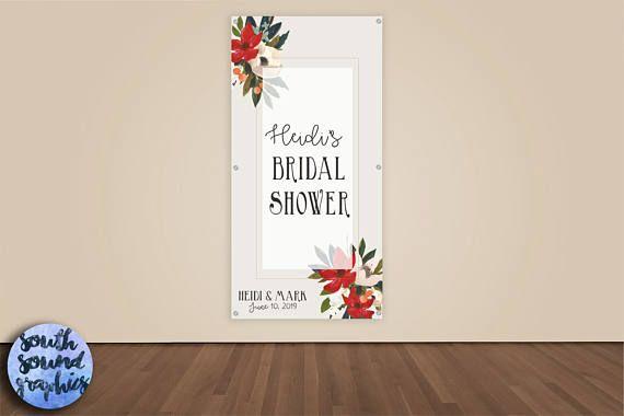Bridal Shower Banner - Red Floral Wedding Shower Photo Backdrop - Custom Wedding Banner Welcome Sign - Rustic Bridal Shower Vinyl Backdrop