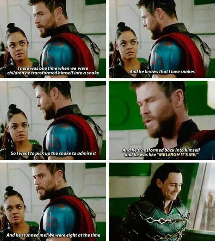 """pretty sure he said """"stabbed me"""", not """"stunned"""" but still... Thor's memories of him and Loki as kids is what I'm living for!"""