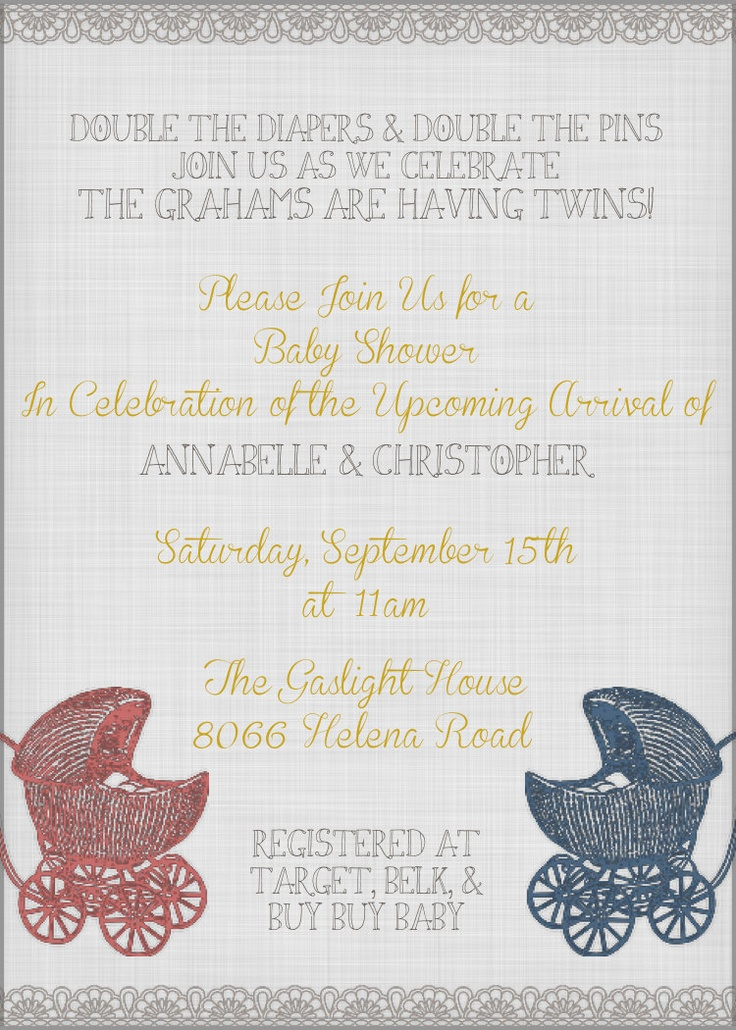Twin Baby Shower / Tea Invitation Printable by Avenue441, email Alicia.seales@yahoo.com for ordering