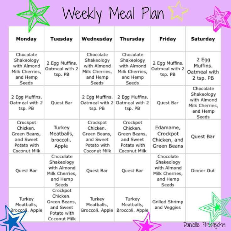 Weekly Meal Plan!!! Gluten Free and 21 Day Fix approved ...