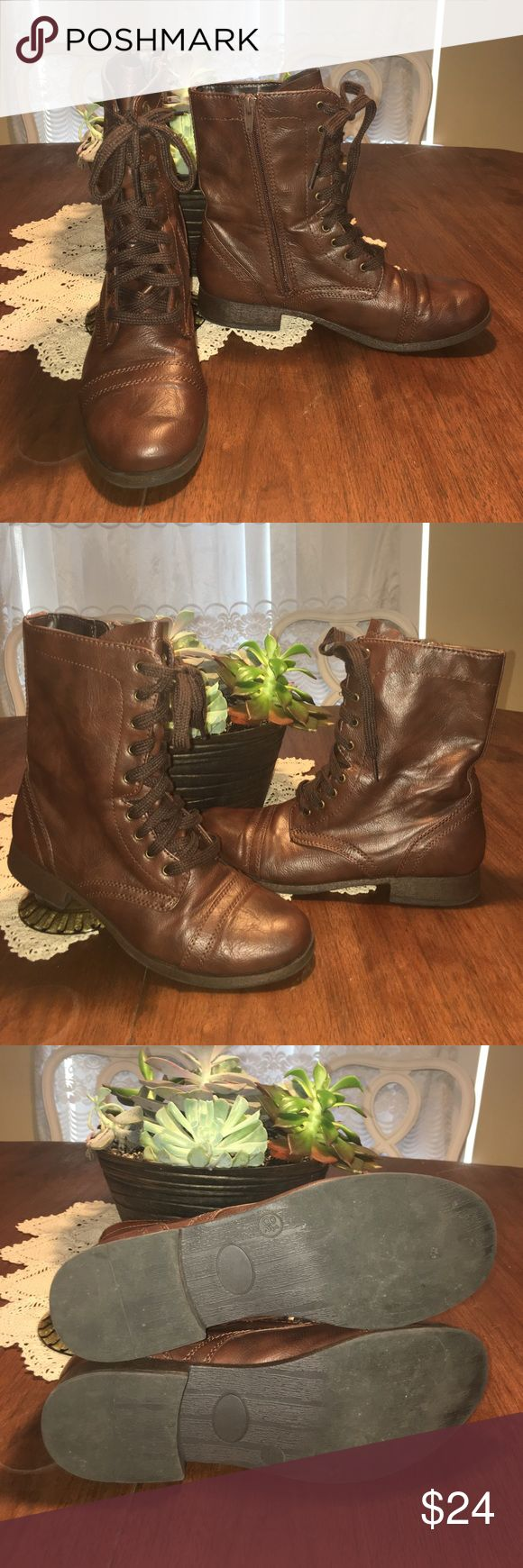 Brown combat boots Kohl's brown synthetic leather boots! Worn but in great condition. Size 8.5 Shoes Combat & Moto Boots