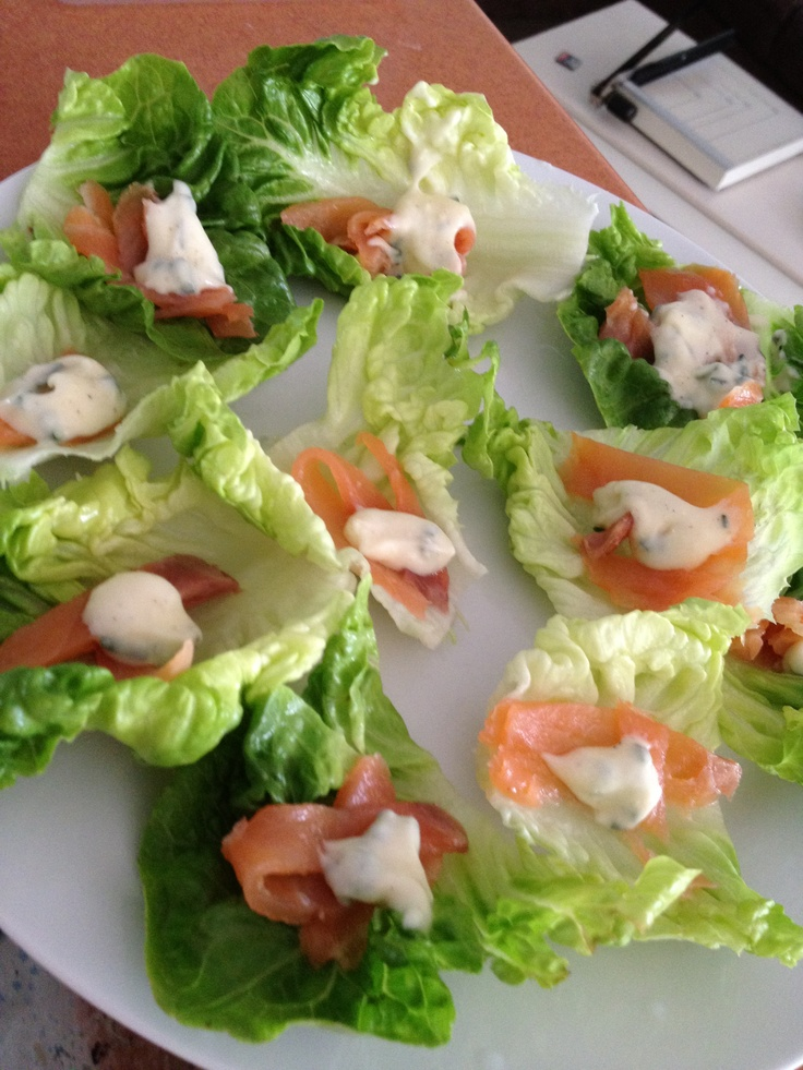 My homemade smoked salmon and cos lettuce cups! Add a blob of mayo mixed with a squeeze of lemon juice, cracked pepper and chopped chives or dill