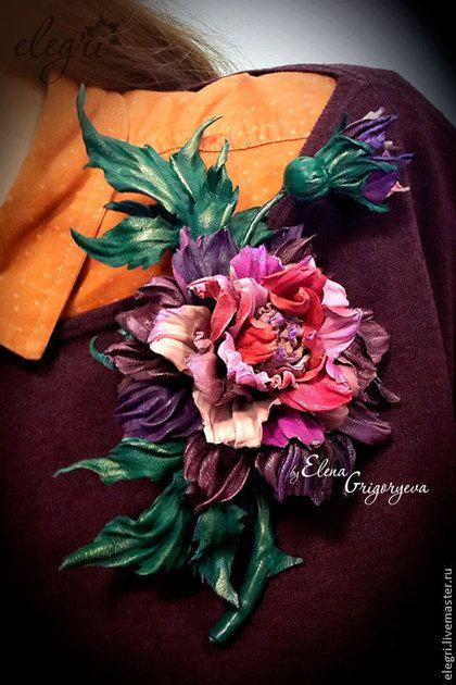 """Роза-брошь """"Акварель"""" - цветы из кожи,роза из кожи,роза брошь,эксклюзивные цветы"""