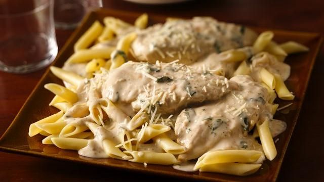 Enjoy dinner cooked with chicken, pasta and Progresso� Recipe Starters� basil cooking sauce � a flavorful meal.