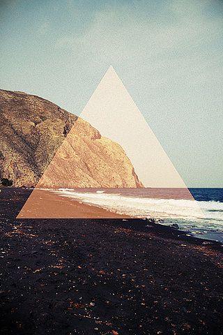 triangle, ocean. cliff, print.