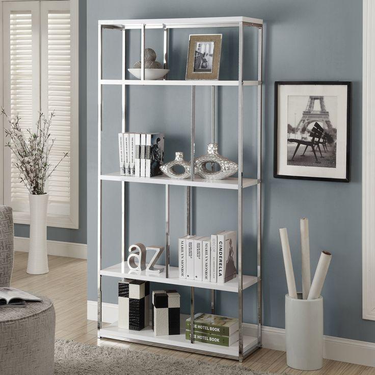 monarch 72 in metal bookcase glossy white chrome elegant and modern the monarch 72 in metal bookcase glossy white chrome defines your style