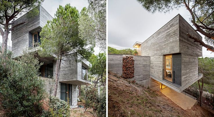 13 Modern House Exteriors Made From Concrete | Tucked into the hillside and surrounded by trees, this concrete home adds an industrial look to the area while also blending in to the landscape.