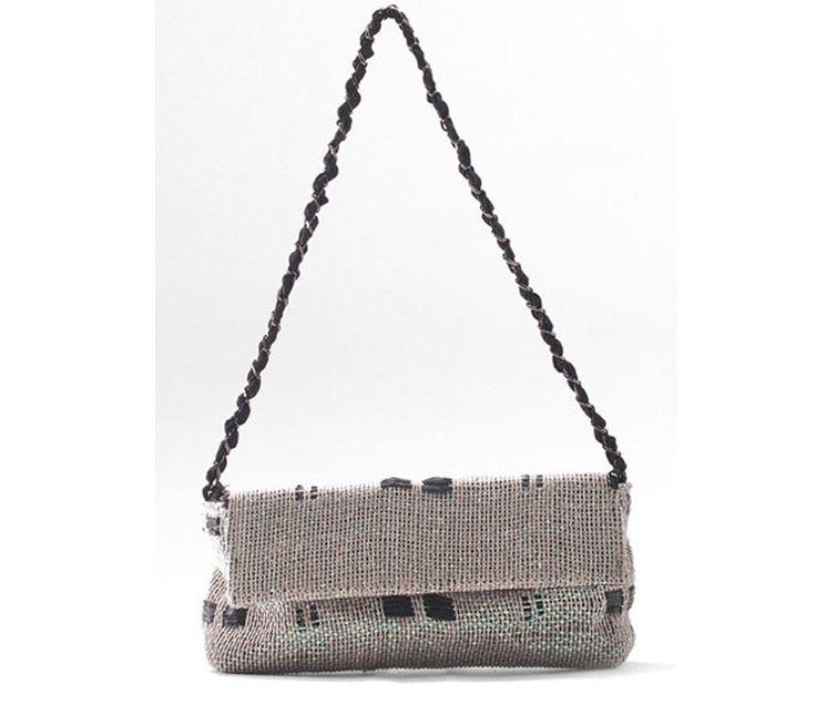 Box. Ladies bag handwoven fabric, chain handle. 80% linen, 20% poly. Charlotte iris.