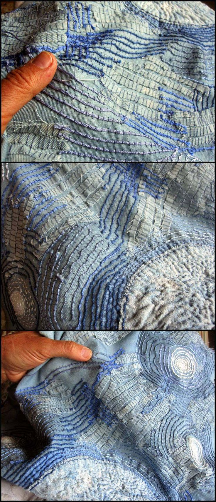 "JUDY MARTIN : Rough couching, over raveled weft threads, un-separated floss, and narrow strips of denim. It evokes Starry Night. ""The threads and fabrics are familiar things used in an unfamiliar way. What is usually used to make a neat seam or a mended pocket, is used here in a messy and raveled manner."" Read her post and enjoy the detail photos."