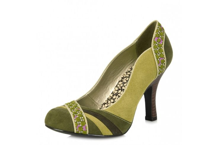 Ruby Shoo Heather Moss Green Faux Suede High Heel Court Shoes