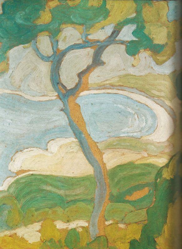 Σπύρος Παπαλουκάς, «Ακτή στην Αίγινα», (1923), λάδι σε χαρτόνι, 24x20 εκ., ιδιωτική συλλογή.