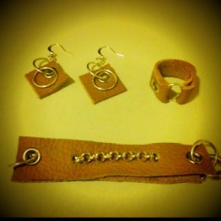 Indigirl designs leather bracelet, ring & earrings