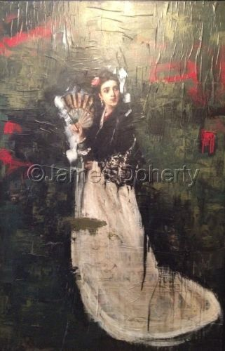 Spanish lady in shawl by James Doherty - oil, wax and encaustic on wood panel