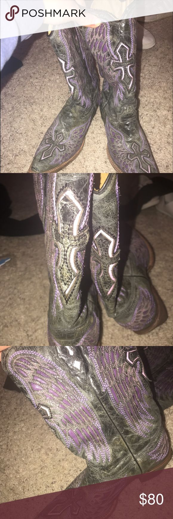 Women's cowboy purple and black boots! Size 10 Slightly worn but GREAT shape! Super cute and comfy ! There are crosses in the front and back and wings on the side! Bought from Cavenders! Shoes