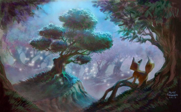 Ketty Formaggio: illustrazione L'albero magico  fox in magical forest