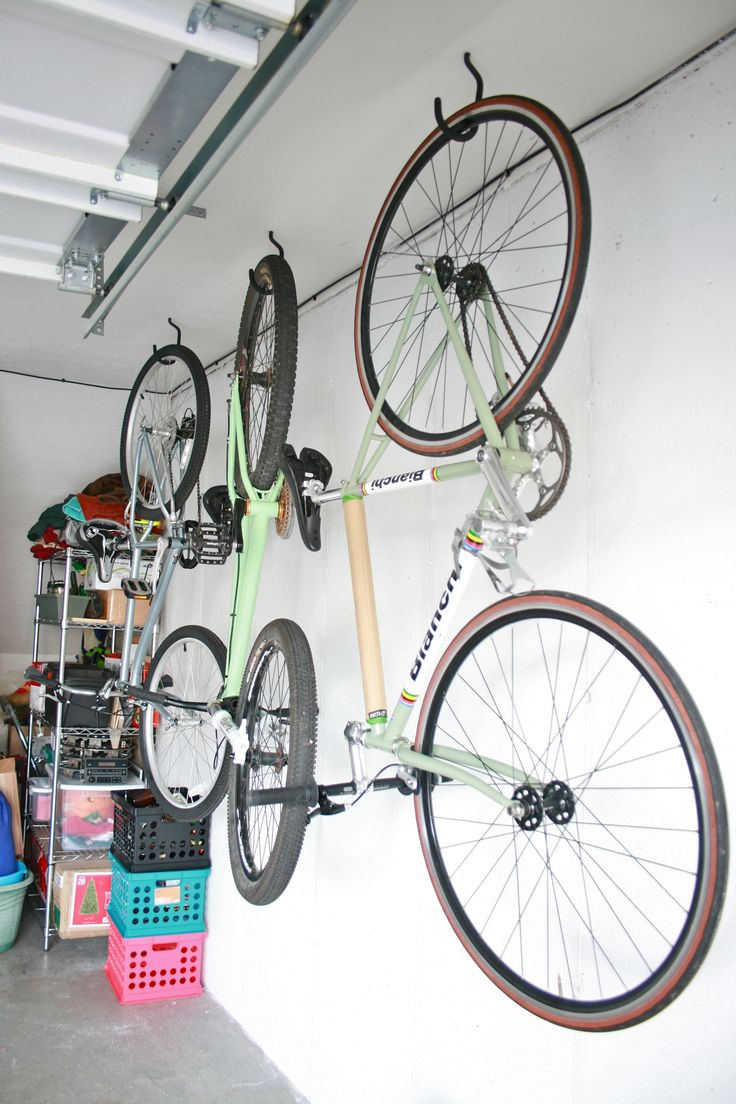 Hang bikes in the garage  Check! | Hanging bike rack ...