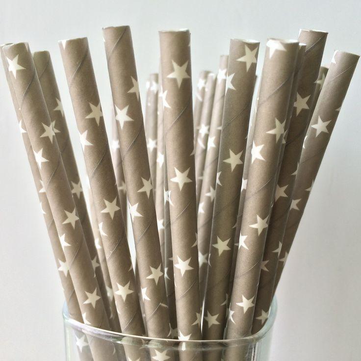 Бесплатная доставка 25 шт. серый питьевой соломинки, Белые звезды выкройки соломинки свадьба ну вечеринку на день рождения украшения