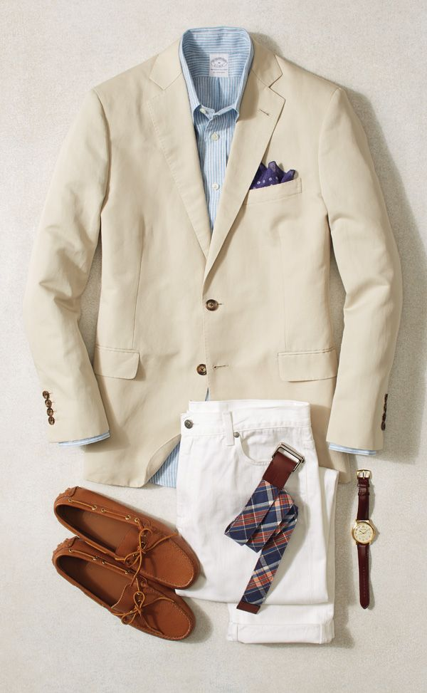 Pair white pants with a neutral blazer for a polished yet relaxed style. Brooks Brothers driving mocs complete the look.