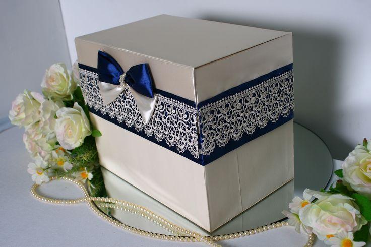 Свадебный сундук цвета айвори . Декор: кружево синего цвета , атласные ленты и…