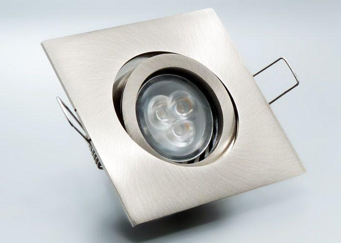 LED Einbaustrahler Set Mit Marken GU10 Spot Nextec 3x2 Watt Power Alu Druckguss Eckig